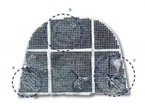 a,b,c: ZONE DI PARZIALE FUSIONE DEL FILTRO I canali appaiono distorti, deformati dal calore accumulato per effetto di un ristagno prodotto da locali intasamenti. Il fap era stato pulito ma la pulizia non ha intaccato il particolato legato chimicamente al filtro.